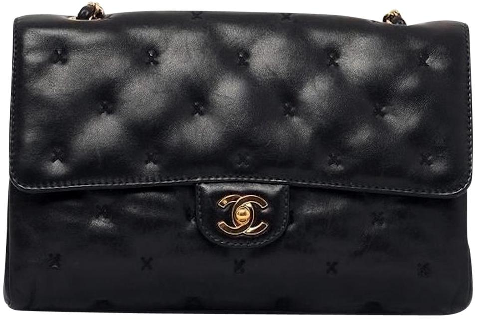 a1f541f39030 Chanel Classic Flap 2.55 Reissue Cross Stitch X Quilted Small Medium  Timeless Tote Black Lambskin Leather Shoulder Bag