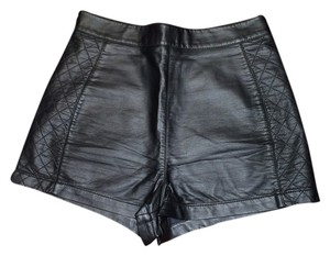 Forever 21 Quilted Mini Leather Mini/Short Shorts Black