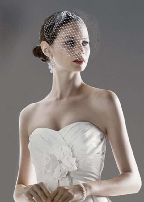 Item - White Birdcage With Crystals Bridal Veil