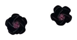 Betsey Johnson Black Flower w/ Pink Center Stud Earrings