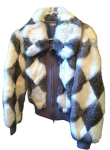 Other Vintage Rabbit Fur Fur Grey and white Jacket