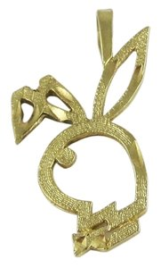 14k Yellow Gold Open Design Playboy Bunny Rabbit Head Pendant