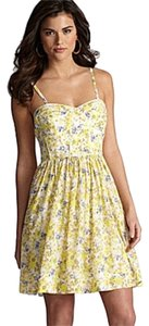 Gianni Bini short dress yellow blue floral Removable Straps Strapless on Tradesy