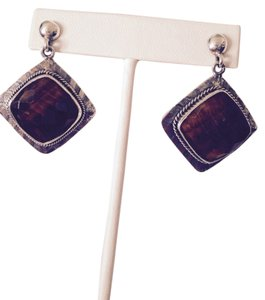Faceted Checkerboard Top Tigers Eye In Sterling Silver Earrings