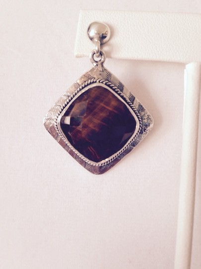 Other Faceted Checkerboard Top Tigers Eye In Sterling Silver Earrings