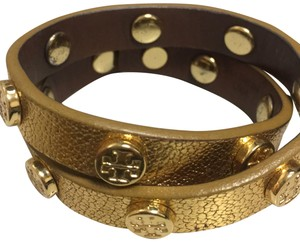 Tory Burch Tory Burch Gold Leather Double Wrap Logo Bracelet