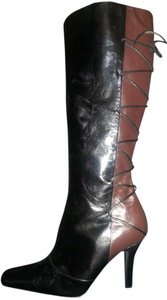 Details Leather And Knee High Black/Brown Boots