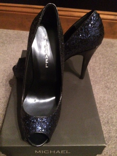 Michael by Michael Shannon Sexy Sparkle Open Toe High Heel indigo Pumps