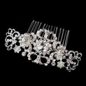 Elegance By Carbonneau Vintage Look Rhodium Rhinestone Wedding Comb