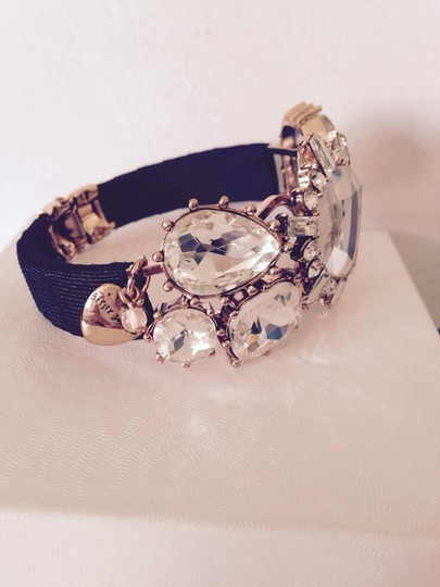 Betsey Johnson Clear Crystal And Black Ribbon Hinged Bracelet