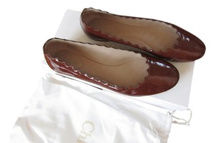 Chloé Patent Leather Brown Flats