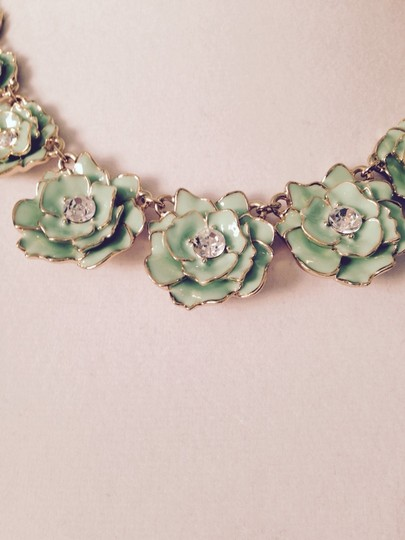 Kate Spade Green Enamel & Crystal Multi-Flower Gold Necklace