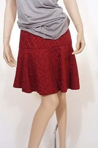 Free People People F858r839 Womens Cranberry Flare Flounce Mini Skirt Red