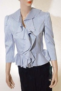 Ralph Lauren Lauren Ralph Lauren Womens Blue White Striped Lined Ruffled Jacket Blazer Coat