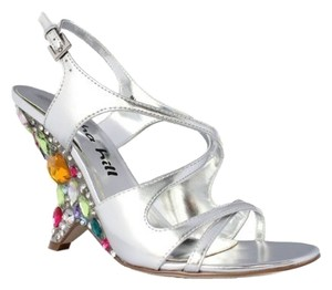 Alisha Hill Taylor Hill Gem Rhinestones Jewels Silver Wedge Prom Cocktail Prom Silver Heel Gemstones Multicolored Silver, Multi Formal