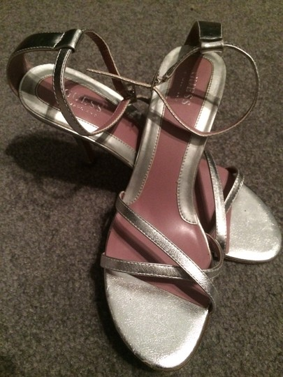 Guess Sexy Strappy Open Toe Heels Silver Sandals