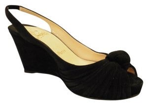 Christian Louboutin Slingback Suede Wedge Black Wedges