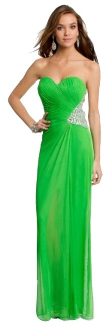 Item - Green Mesh Gown with Beading - Long Formal Dress Size 6 (S)