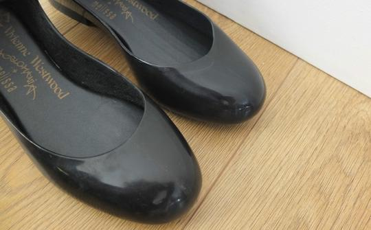 Vivienne Westwood Mary Jane Strappy Rubber Ankle Goth Black Flats