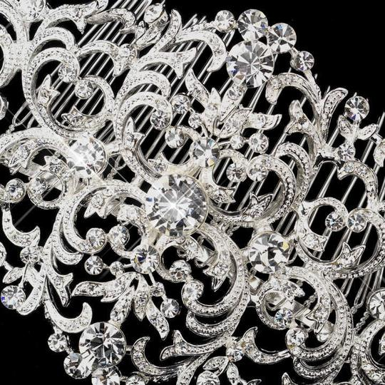 Elegance by Carbonneau Silver Magnificent Vintage Swirl Rhinestone Comb Hair Accessory