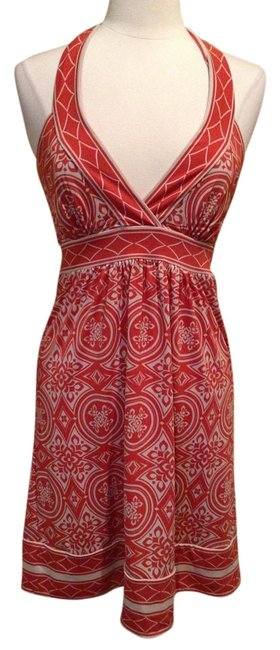 Preload https://img-static.tradesy.com/item/3387376/bcbgmaxazria-coral-and-cream-knee-length-night-out-dress-size-4-s-0-0-650-650.jpg