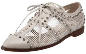 Candela Studded Rocker Leather Mesh Bone Flats