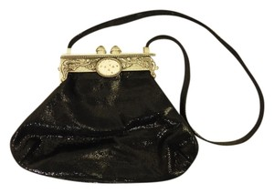 Moulin Rouge Leather Suede Black Clutch
