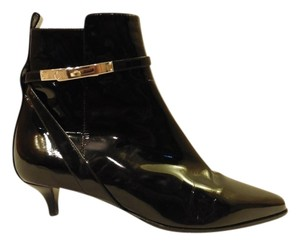 Hermès Kitten Heel Leather Patent Pointed Toe Black Boots
