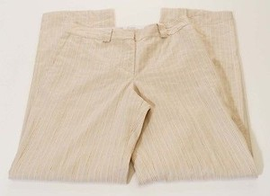 Vince Womens Brown Stripe Irish Linen Wide Leg X Pants
