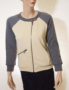Chaser Womens Beige Grey Fleece Team Varsity Baseball Moto Coat Multi-Color Jacket