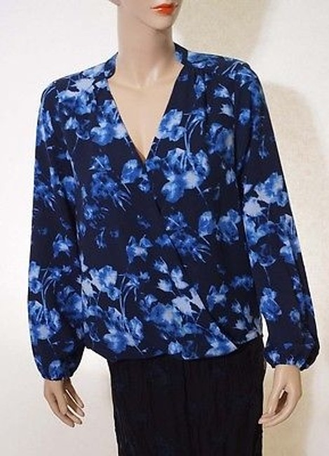 Vince Camuto Womens Fountain Floral Wrap Front Long Sleeve Top Blue