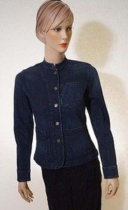 Ralph Lauren Lauren Womens Navy Denim Stretch Button Front Coat Blue Jacket
