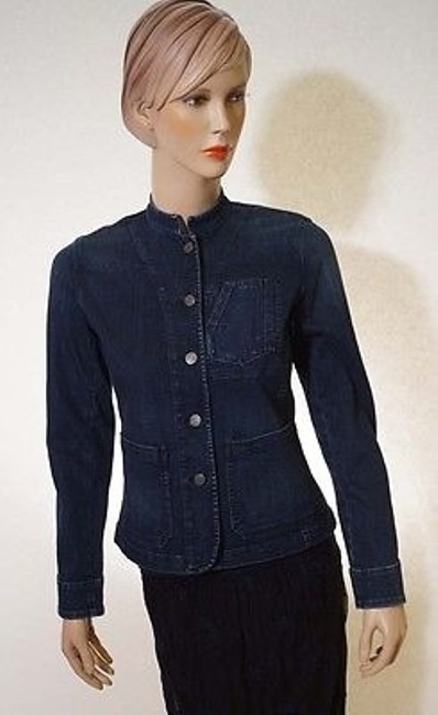 Preload https://img-static.tradesy.com/item/3388045/lauren-ralph-lauren-womens-blue-navy-denim-stretch-button-front-jacket-coat-0-0-650-650.jpg