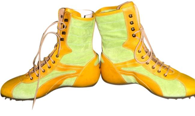 Lime Suede Yellow Leather Boots/Booties Size US 7.5 Regular (M, B) Lime Suede Yellow Leather Boots/Booties Size US 7.5 Regular (M, B) Image 1