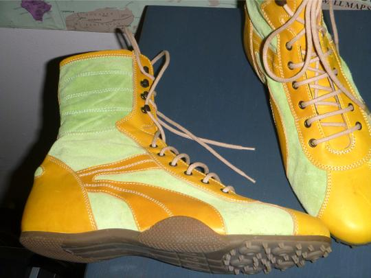 MARE Italian Design Boxing Vintage Boxing Green And Kickboxing Lime suede Yellow leather Boots