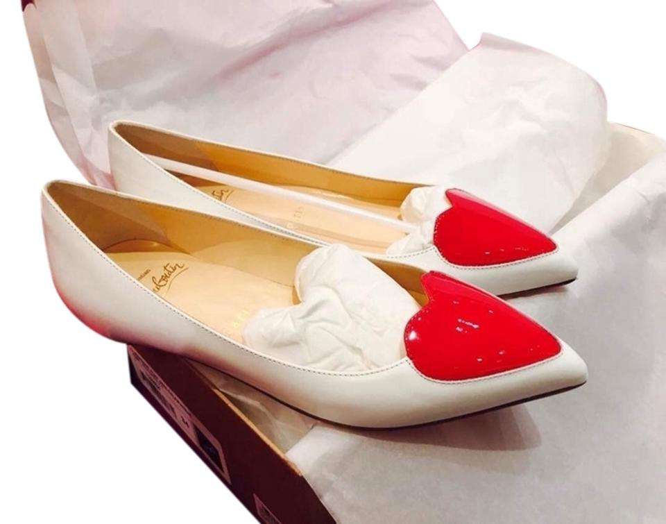 newest d55db ee549 Christian Louboutin White Corafront Patent Leather Flats Size EU 34  (Approx. US 4) Regular (M, B)