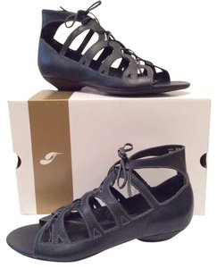 Jump Apparel Leather Ankle Stitching Lacing Lace Cut-out Wedge Open Toe Gladiator Festival Pierced Cone Resort Black Sandals