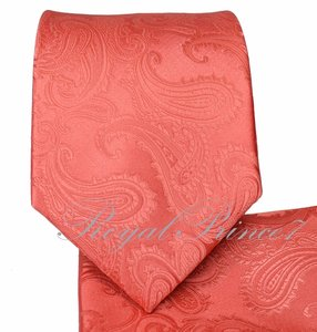 Brand Q Coral New Men's Coralpaisley Design Self Necktie and Handkerchief Set Tie/Bowtie