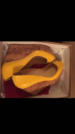 Christian Louboutin Platform Fashion Fly Red Bottoms Patent Yellow Wedges