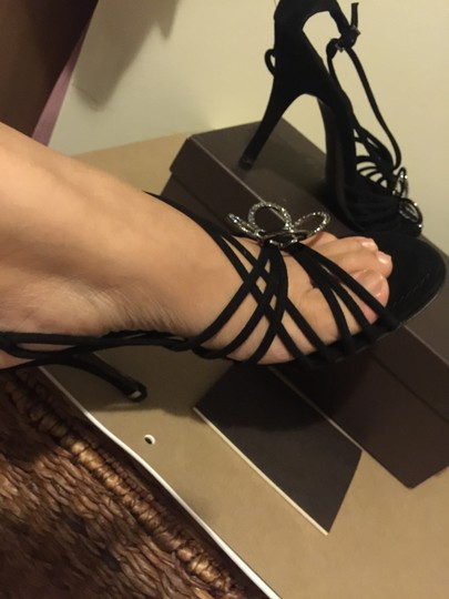 Louis Vuitton Lv Suede Heel Black Heels Noir Sandals