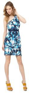 Trina Turk One Shoulder Silk Draped Dress