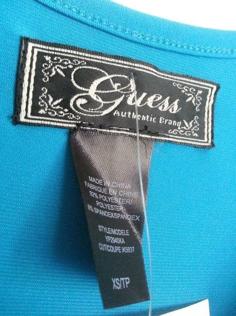 Guess 92% Polyester 8% Spandex Top Crown Blue