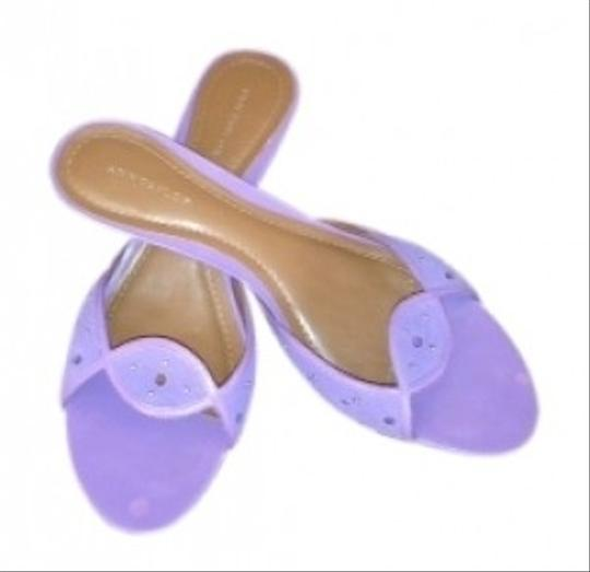 Ann Taylor At Kitten Heel W Metal Studs Perfect For Spring deep lilac suede Sandals