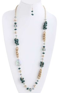 Unknown Green Bead Long Necklace Set Costume Jewelry