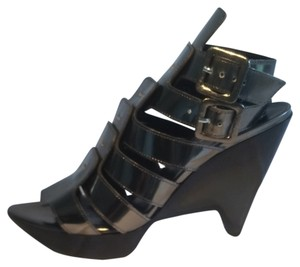 Robert Clergerie Pewter Wedges