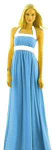 Turquoise / Ivory Maxi Dress by After Six Full Length Nu-georgette Halter Summer