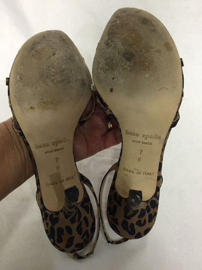 Kate Spade Slingback Animal Formal Clubbing Soft Feminine Heels Open Toe Cheetah Print Brown Black Pumps