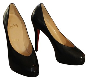 Christian Louboutin Leather Joli Joli Dune Peep Toe Stiletto Platform Hidden Platform Black Pumps