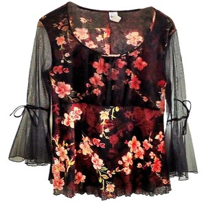 4Udesign Mesh Embellished Top floral