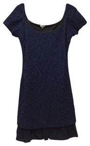 Marabelle short dress Navy Cotton Scoop Back Textured on Tradesy